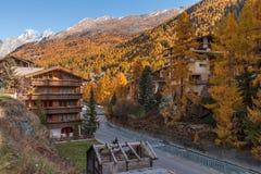 Άποψη φθινοπώρου του θερέτρου Zermatt, Valais Στοκ φωτογραφία με δικαίωμα ελεύθερης χρήσης