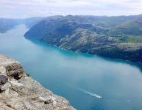 Άποψη φιορδ από το Pulpit βράχο Στοκ Εικόνα