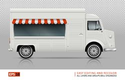 Άποψη φορτηγών τροφίμων από τη δεξιά πλευρά Στοκ Εικόνες