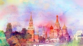 Άποψη φωτογραφιών της Μόσχας Κρεμλίνο Στοκ Εικόνα