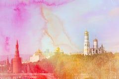 Άποψη φωτογραφιών της Μόσχας Κρεμλίνο Στοκ Φωτογραφίες