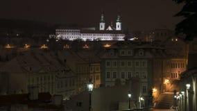 Άποψη χειμερινής νύχτας της Πράγας μοναστηριών Strahov Στοκ εικόνες με δικαίωμα ελεύθερης χρήσης