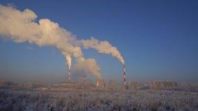Άποψη χειμερινών βιομηχανική τοπίων Russioan φιλμ μικρού μήκους