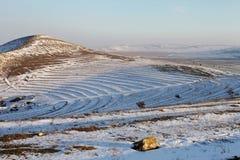 Άποψη χειμερινών τοπίων από την ακρόπολη Histria στοκ φωτογραφία