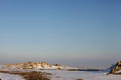 Άποψη χειμερινών τοπίων από την ακρόπολη Histria στοκ φωτογραφίες