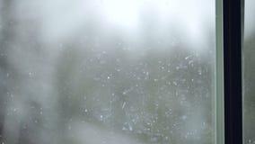 Άποψη χιονοθυελλών από το παράθυρο απόθεμα βίντεο