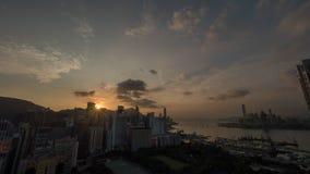 Άποψη Χονγκ Κονγκ στο ηλιοβασίλεμα Στοκ Εικόνες