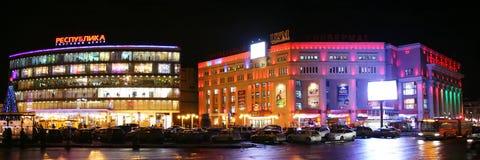 Άποψη Χριστουγέννων της Δημοκρατίας εμπορικών κέντρων σε Nizhny Novgorod στοκ εικόνα με δικαίωμα ελεύθερης χρήσης