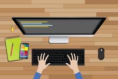 Άποψη χώρου εργασίας προγραμματιστών από την κορυφή με τον κώδικα γραμμών υπολογιστών γραφείου απεικόνιση αποθεμάτων