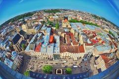 Άποψη ψάρι-ματιών της άποψης ματιών πουλιών Lviv πόλεων Στοκ εικόνα με δικαίωμα ελεύθερης χρήσης