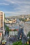 Άποψη Anibal Pinto Plaza από το paseo Atkinson mirador Cerro Alegre valparaiso Χιλή Στοκ Εικόνα
