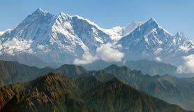 Άποψη Annapurna Himal - του Νεπάλ - της Ασίας Στοκ Εικόνες