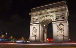 Άποψη Arc de Triomphe τη νύχτα Στοκ Φωτογραφίες