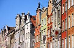 Άποψη archtecture οδών Dluga με το παλαιό κτήριο στην πόλη του Γντανσκ Πολωνία Στοκ Εικόνες