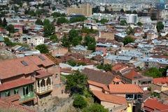 Άποψη Arial στην παλαιά πόλη του Tbilisi, πρωτεύουσα της Γεωργίας Στοκ Φωτογραφία