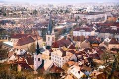 Άποψη Arial σχετικά με την πόλη του Λουμπλιάνα Στοκ φωτογραφία με δικαίωμα ελεύθερης χρήσης