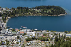 Άποψη Arial της λίμνης Wakatipu και Queenstown, νότιο νησί της Νέας Ζηλανδίας Στοκ Φωτογραφία