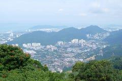 Άποψη Arial του νησιού Penang από την κορυφή των λόφων Penang Στοκ Φωτογραφία