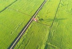 Άποψη Arial του πράσινου τομέα ορυζώνα στην ανατολική Ασία κατά τη διάρκεια της ανατολής Στοκ φωτογραφία με δικαίωμα ελεύθερης χρήσης