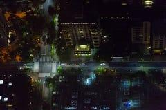 Άποψη Arial των οδών πόλεων της Ταϊπέι ` s τη νύχτα Στοκ φωτογραφία με δικαίωμα ελεύθερης χρήσης