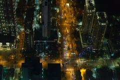 Άποψη Arial των οδών πόλεων της Ταϊπέι ` s τη νύχτα Στοκ Εικόνες