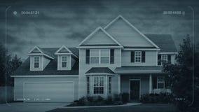 Άποψη CCTV του χαρακτηριστικού σπιτιού - έννοια ασφάλειας απόθεμα βίντεο