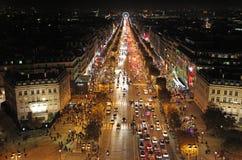 Άποψη Elysees Champs τή νύχτα άνωθεν Παρίσι Στοκ Εικόνες