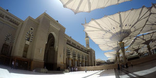 Άποψη Fisheye του μουσουλμανικού τεμένους Nabawi στοκ φωτογραφία με δικαίωμα ελεύθερης χρήσης