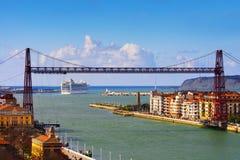 Άποψη Getxo και της κρεμώντας γέφυρας Στοκ Εικόνες