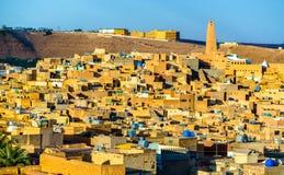 Άποψη Ghardaia, μια πόλη στην κοιλάδα Mzab Παγκόσμια κληρονομιά της ΟΥΝΕΣΚΟ στην Αλγερία στοκ φωτογραφίες