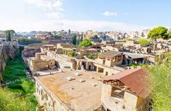 Άποψη Herculaneum από τη βουνοπλαγιά στοκ εικόνες