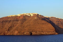 Άποψη Imerovigli στο ηλιοβασίλεμα - νησί Santorini Στοκ Εικόνες