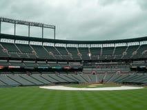 Άποψη Infield των ναυπηγείων του Κάμντεν, στάδιο των Baltimore Orioles, κενό στον εκτός εποχής στοκ εικόνες με δικαίωμα ελεύθερης χρήσης