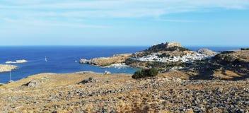 Άποψη Lindos Το νησί της Ρόδου Ελλάδα στοκ φωτογραφίες