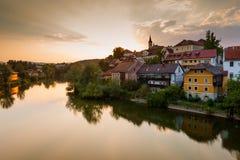 Άποψη Novo Mesto και ποταμός Krka Σλοβενία Στοκ Εικόνες