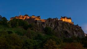 Άποψη ofEdinburgh Castle, Σκωτία νύχτας Στοκ Εικόνα