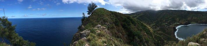 Άποψη Panaromic στο κεφάλι Kahukuloa, Maui στοκ εικόνα