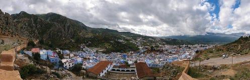Άποψη Panormaic πέρα από Chefchaouen, Μαρόκο Στοκ Φωτογραφία