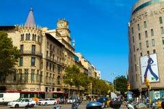 Άποψη Passeig de Gracia από την πλατεία της Καταλωνίας στη Βαρκελώνη Στοκ Φωτογραφία