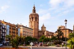 Άποψη Plaza de Λα Reina στη Βαλένθια, Ισπανία Στοκ Εικόνα