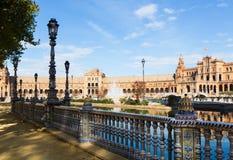 Άποψη Plaza de Espana με το φράκτη Σεβίλη Στοκ Εικόνα
