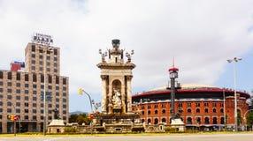 Άποψη Plaza de Espana με το χώρο στη Βαρκελώνη Στοκ φωτογραφία με δικαίωμα ελεύθερης χρήσης