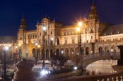 Άποψη Plaza de Espana στη νύχτα Στοκ Εικόνες