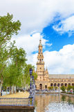 Άποψη Plaza de Espana στη Σεβίλη, Ανδαλουσία, Ισπανία, Ευρώπη Στοκ εικόνα με δικαίωμα ελεύθερης χρήσης