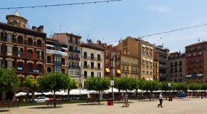 Άποψη Plaza del Castillo στο Παμπλόνα Στοκ εικόνα με δικαίωμα ελεύθερης χρήσης