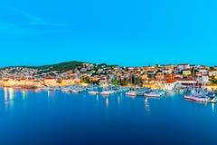 Άποψη Trogir τη νύχτα Στοκ Εικόνες