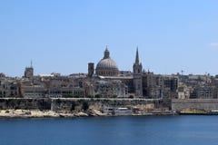 Άποψη Valletta από την προκυμαία Sliema, Μάλτα Στοκ εικόνα με δικαίωμα ελεύθερης χρήσης