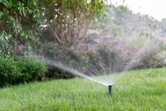 Άρδευση του κήπου με το σύστημα ψεκαστήρων Στοκ φωτογραφία με δικαίωμα ελεύθερης χρήσης