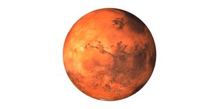 Άρης ο κόκκινος πλανήτης που βλέπει από το διάστημα στοκ εικόνες