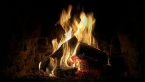 Άριστος ικανοποιώντας άνετος ήρεμος καλός στενός επάνω βρόχος που πυροβολείται του ξύλινου καψίματος φλογών πυρκαγιάς αργά στην α απόθεμα βίντεο